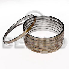 Laminated brownlip in 5mm stainless Inlaid Metal Bangles