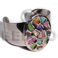 haute hippie 38mmx28mm metal cuff bangle  58mmx43mm oval glistening multicolor abalone / molten silver metal series / electroplated - Inlaid Metal Bangles