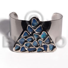haute hippie 38mmx28mm metal cuff bangle  50mm triangle glistening blue abalone / molten silver metal series / electroplated / sr-bc-01 - Inlaid Metal Bangles