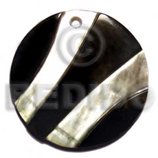 Round zebra black lip Inlaid Pendants