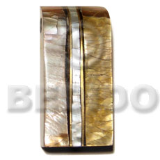 52mmx25mm cracking laminated brownlip mop shell Inlaid Pendants