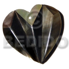 36mmx36mm laminated blacklip accordion heart Inlaid Pendants