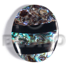 45mmx35mm  laminated oval paua/blacklip shell  combination  5mm black resin backing - Inlaid Pendants