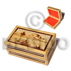 bamboo  raffia  jewelry box / small  l=98mm x w=60mm x h=42mm - Jewelry Box