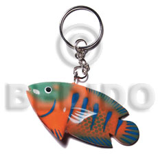 Fish Handpainted Wood Keychain 73mmx35mm