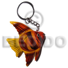 hand made Fish handpainted wood keychain 90mmx65mm Keychain