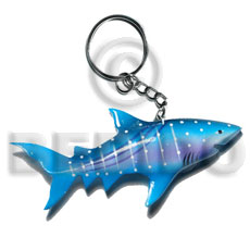 Shark handpainted wood keychain 110mmx50mm Keychain