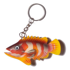 Fish handpainted wood keychain 80mmx40mm Keychain