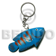 Fish handpainted wood keychain 73mmx35mm Keychain