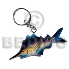 Fish Handpainted Wood Keychain 95mmx40mm