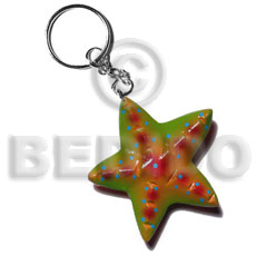 Starfish handpainted wood keychain 65mm Keychain