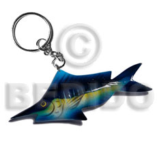 Fish handpainted wood keychain 110mmx40mm Keychain