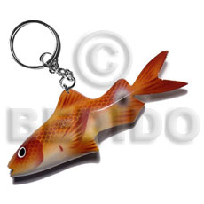 Fish handpainted wood keychain 105mmx40mm Keychain