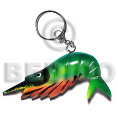 Shrimp handpainted wood keychain 80mmx55mm Keychain