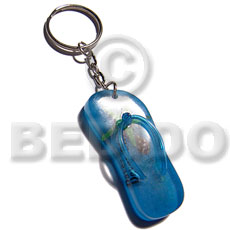 55mmx23mm  blue resin beach slippers  laminated seashell and starfish keychain / can be ordered  customized text - Keychain