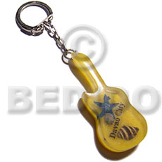 60mmx25mm yellow resin guitar Keychain