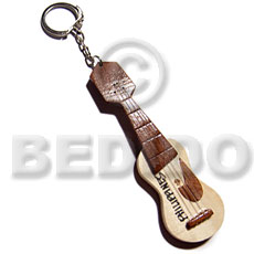 hand made 100mmx30mm polished wooden guitar Keychain