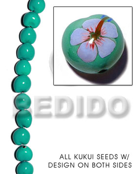Kukui seed mint green Kukui Lumbang Nuts Beads