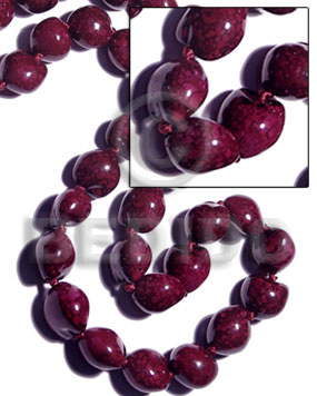 16 pcs. of kukui nuts in high polished paint gloss marbleized grape color - Kukui Lumbang Nuts Beads