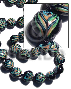 hand made Kukui seeds in animal print Kukui Lumbang Nuts Beads