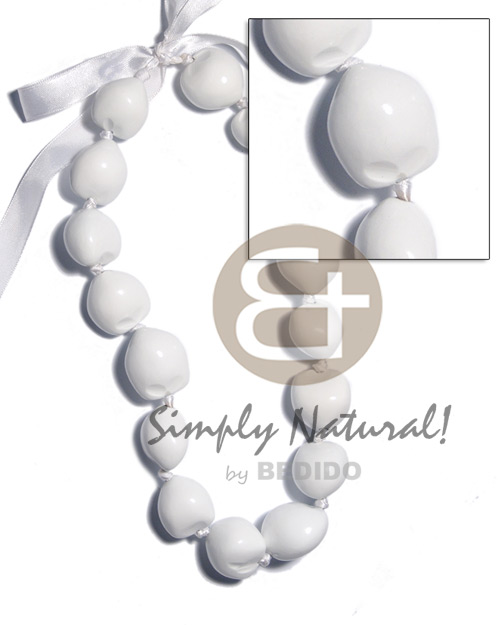 Kukui nuts in white Kukui Necklace