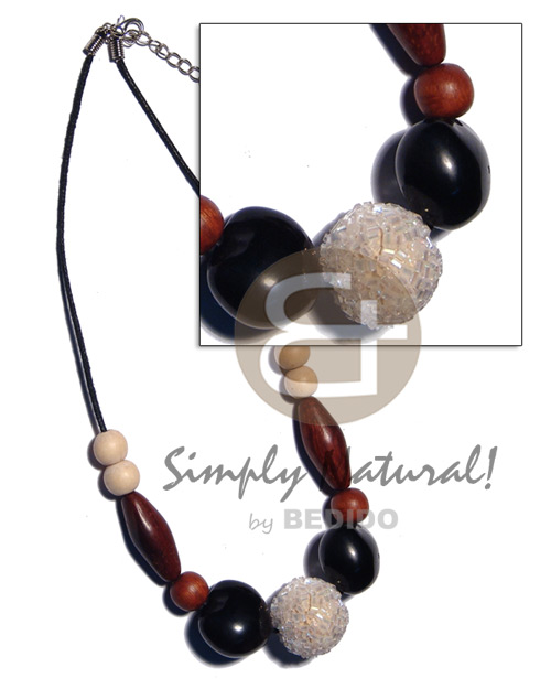 20mm round wrapped wood beads Kukui Necklace