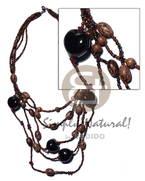 5 rows graduated multilayered dark Kukui Necklace
