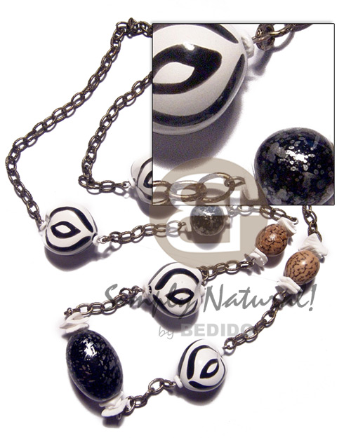 4 pcs. zebra kukui nut Kukui Necklace