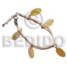 20mm dangling 6 pcs. oval Leather Bracelets