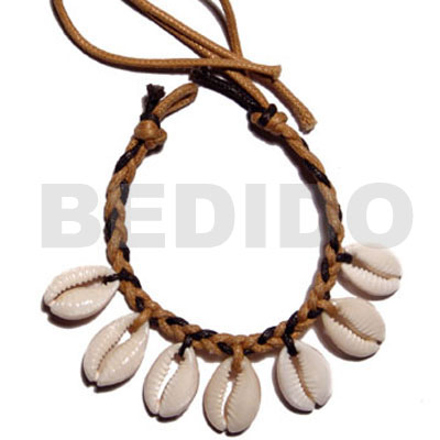 Sigay shells in braided wax Leather Bracelets