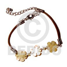 3 small mop flowers Leather Bracelets