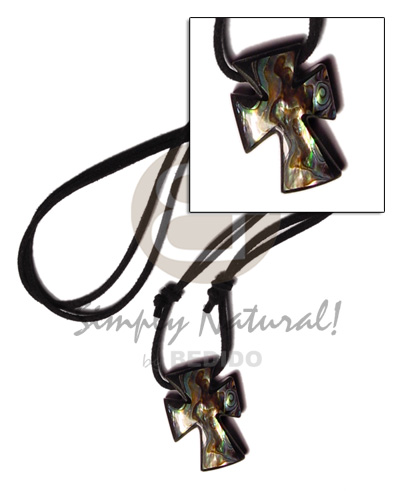 35mm inlaid paua abalone cross Leather Thong Necklace