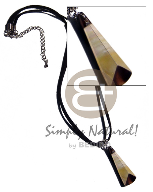 hand made 40mmx15mm laminated mop blacktab combination Leather Thong Necklace