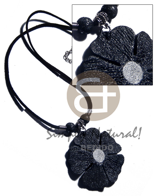 50mm flower black textured painted Leather Thong Necklace