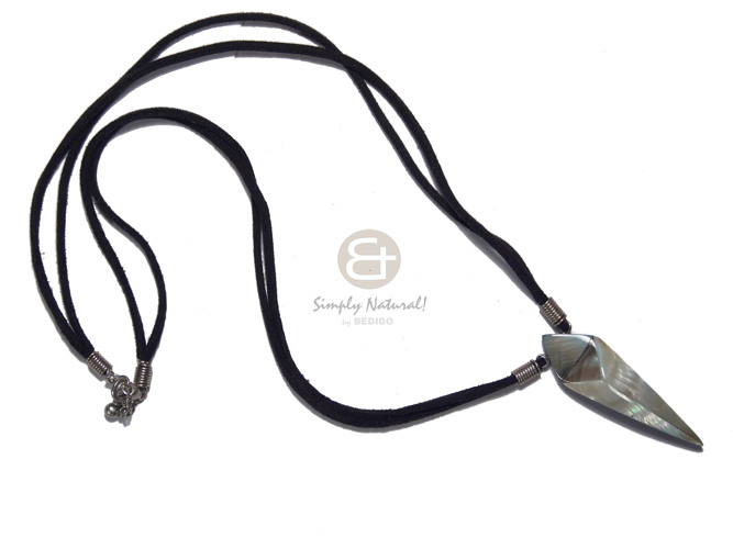 50mmx15mm laminated and embossed blacklip  resin backing in black leather thong/ 18in - Leather Thong Necklace