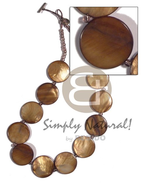 hand made 28mm round laminated golden amber Leather Thong Necklace