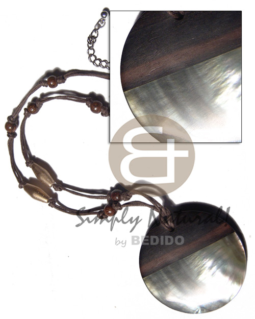 50mm round camagong tiger pendant 4mm thicknes  blacklip shell accent on 2 rows brown wax cord  wood beads accent / 18in  ext. chain - Leather Thong Necklace