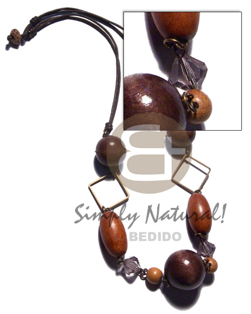 Assorted wood beads - 2pcs Leather Thong Necklace