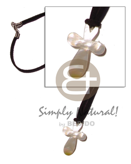 35mm cross mop on leather Leather Thong Necklace