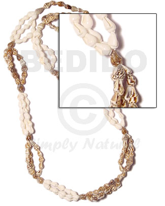 Bomba-white and tiger nassa length Leis