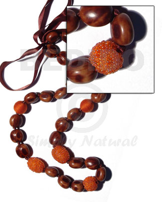 lei / rubber seeds  wood beads wrapped in orange glass beads combination - 32 pcs/ 34 in.adjustable - Leis