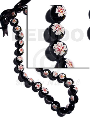 lei / black kukui seeds  handpainted white and red flowers - 32 pcs/ 34 in.adjustable - Leis