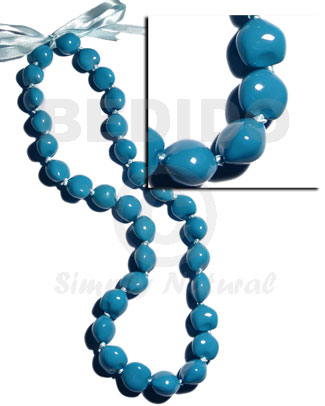 lei / kukui seeds in bright blue color - 32 pcs/ 34 in.adjustable - Leis