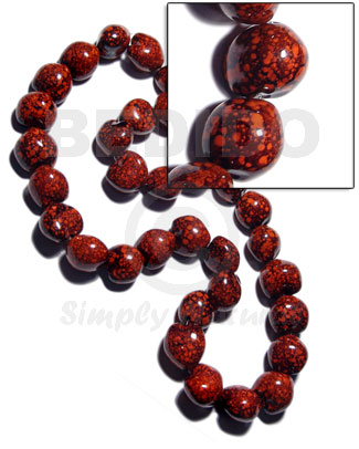 32 pcs. of kukui nuts in high polished paint gloss marbleized red/black combination  in matching ribbon /lei / 36in - Leis