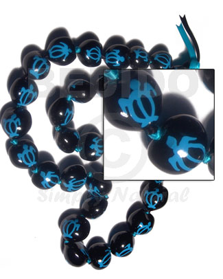 black kukui nuts  handpainted aqua blue turtle brown  accent/ 32 pcs. / in matching adjustable ribbon  the maximum length of 54in / kk069 - Leis