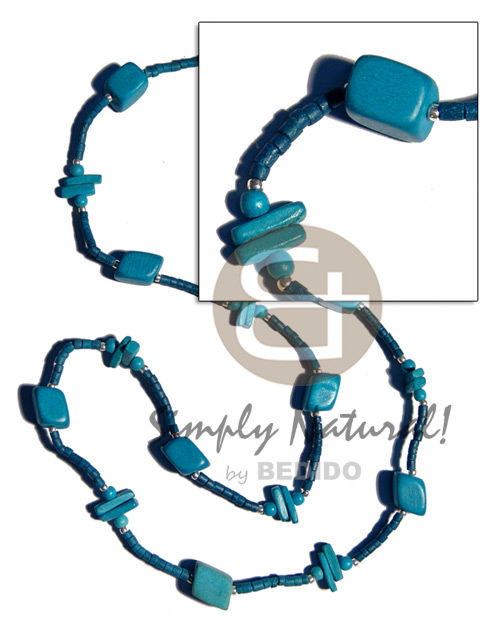 Blue wood beads coco Long Endless Necklace