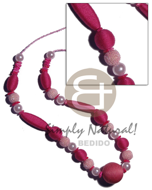 Pink tones wrapped wood beads Long Endless Necklace