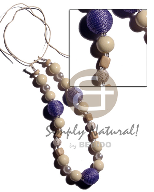 hand made 20mm lilac wrapped wood beads Long Endless Necklace