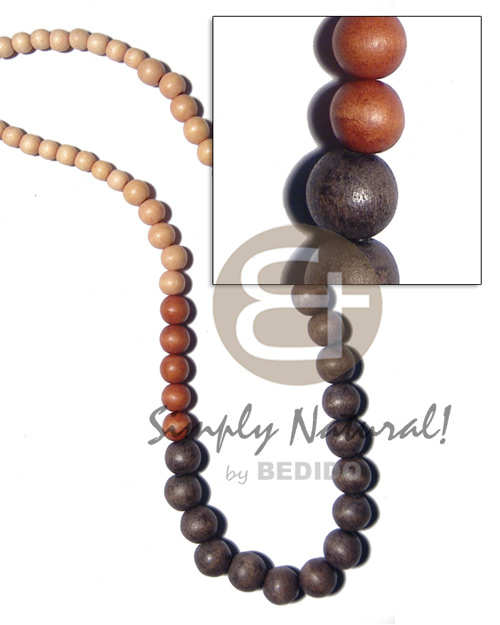 Graduated natural wood beads in Long Endless Necklace