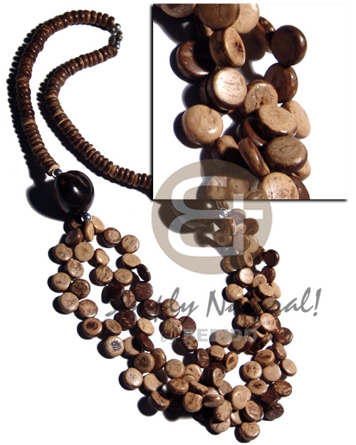 7-8mm coco pokalet. natural brown Long Endless Necklace